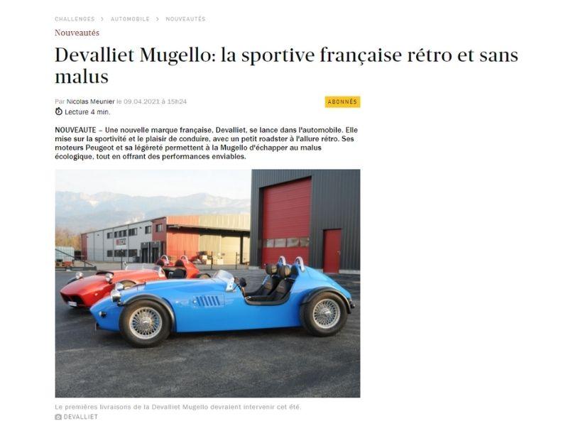 Actualité - Parution dans Cahllenges - Devalliet Manufacture Française d'Automobiles