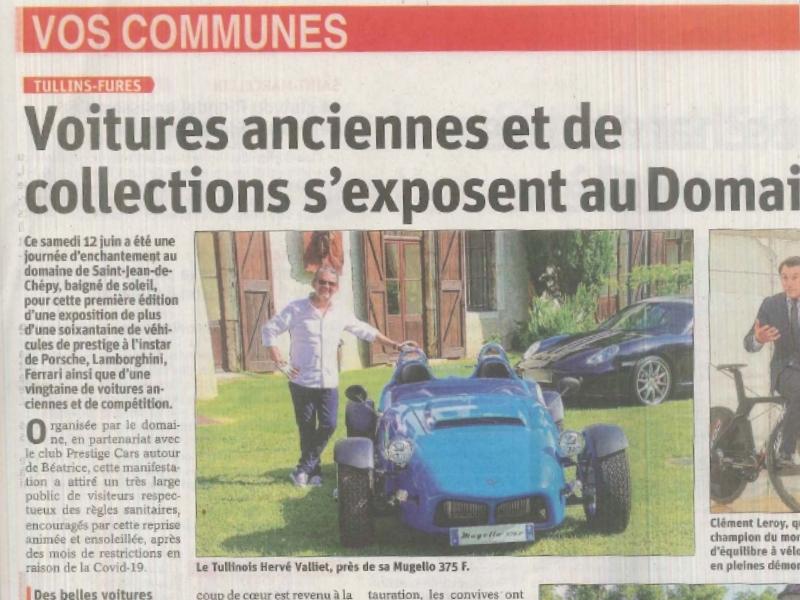 Article Dauphiné Libéré - Belle journée de rassemblement de voitues prestigieuses - Devalliet